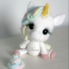 Lily Rainbow Cheeks the Chibi Unicorn amigurumi pattern by Elfin Thread