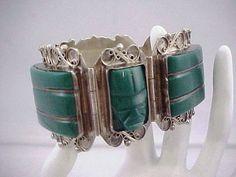 Vtg 40s Mexico Sterling Green Onyx Pre Columbian Mask Chunky Panel Link Bracelet #Notsigned