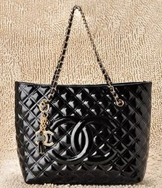 chanel tote black patent leather bags gold chain 71513, just $165.20