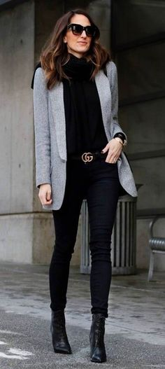 what to weat with a jacket : top + skinnies + boots