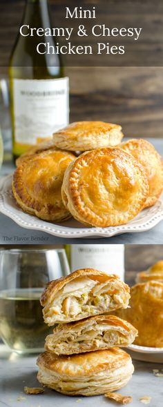 Msg 4 21 Mini Creamy And Cheesy Chicken Pies - The Perfect Snacks For The Big Game Or Any Party. Suggests a flavor like Mini Chicken Pot Pies But Better Plus Learn How To Pair These With The Perfect Wine. Tapas, Comidas Light, Think Food, Mini Pies, Mini Quiches, Empanadas, Cheesy Chicken, Creamy Chicken Pie, Chicken Recipes