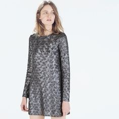 [Zara] Nwt Metallic Geometric Sequined Dress- L