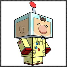 Pikmin - Captain Olimar Cube Craft Free Paper Toy Download - http://www.papercraftsquare.com/pikmin-captain-olimar-cube-craft-free-paper-toy-download.html