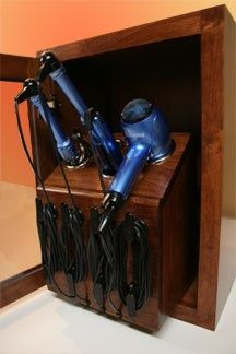 Hooooooolly crap, I want this. Vanity Valet Caddy - Upper Cabinet Blow dryer…