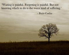 """Waiting is painful. Forgetting is painful. But not knowing which to do is the worst kind of suffering."" beautiful <3"
