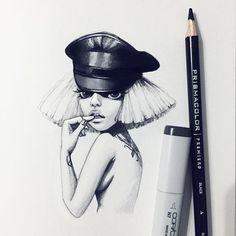 Inspired by @ladygaga Есть в рисовании чб какой-то особый кайф