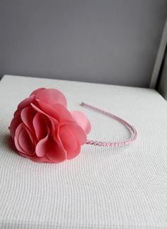 Bari Lynn Flower Headband with Swarovski Crystals- Peach Pink - Back in Stock