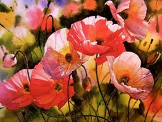 A scrumptious painting of poppies.
