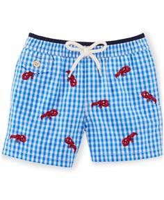 Playful nautical-inspired embroidery meets a preppy gingham pattern in this swim trunk. This adorable style is perfect for splashing around at pool parties and the beach. | Shell: cotton/nylon; brief: