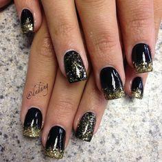 Black with gold glitter fade.  Instagram photo by dndang #nail #nails #nailart