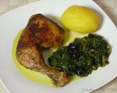 Grünes Hähnchen auf Butterspinat