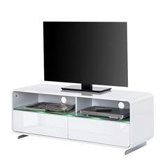 Tv-lowboard Cuuba Curve M12.2 LED - hoogglans wit