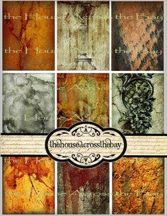 Hauntingly beautiful background images for ATC's, downloadable and printable altered art creating in autumn orange and gray color varieties.  #FallBackgrounds #DigitalCollage #ArtistTradingCards #HalloweenCrafts #PrintableDownloads
