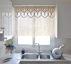 ok, i'm not so into the revival of macrame, but this seems awesome. Custom Kitchen Macrame Curtains Fiber art Bohemian Short curtain Macrame wall hanging