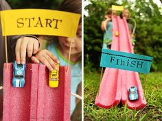 DIY Toy Car Race Track - Another great use for the pool noodle!