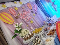 sweets with our hot air balloon inspired backdrop Hot Air Balloon, Party Themes, Backdrops, Balloons, Sweets, Rainbow, Clouds, Activities, Inspired