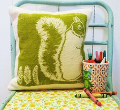 Pillow, Green, Squirrel, Silk Screened Cotton Bark Cloth. $40.00, via Etsy.