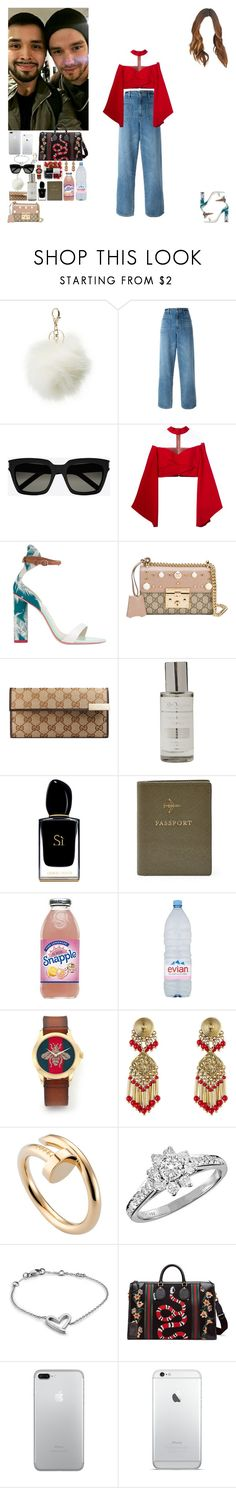 """""""Meet fans at the airport from London to Marrakesh.(Liam's Fiancee)"""" by asma-d ❤ liked on Polyvore featuring Charlotte Russe, Helmut Lang, Yves Saint Laurent, Balmain, Sophia Webster, Gucci, The Organic Pharmacy, Giorgio Armani, FOSSIL and Evian"""