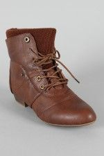 Bamboo Picnic-01 Sweater Cuff Lace Up Ankle Bootie