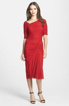 Tadashi Shoji Asymmetrical Ruched Mesh Dress available at #Nordstrom
