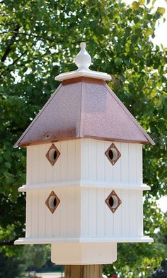 Wing & A Prayer Plantation Bird House, Hammered Copper Roof at BestNest.com $199.99