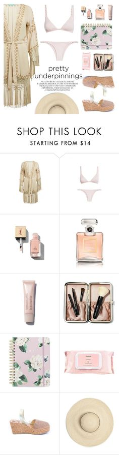 """The Prettiest Underpinnings"" by sanddollardubai ❤ liked on Polyvore featuring Melissa Odabash, ViX, Yves Saint Laurent, Chanel, Bobbi Brown Cosmetics, ban.do, Mamonde and Mibo"