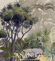 Painting Wallpaper, Mural Painting, Vintage Style Wallpaper, Grisaille, India, Beach Cottages, Oeuvre D'art, Illustration, Plants