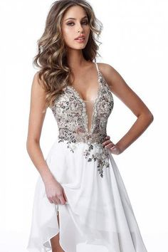 Jovani - Embellished Deep V-neck A-line Dress Plus Size Wedding Guest Dresses, Plus Size Cocktail Dresses, Plus Size Party Dresses, Mid Length Dresses, Short Dresses, Prom Dresses, V Neck Cocktail Dress, Embroidery Dress, Dress Backs