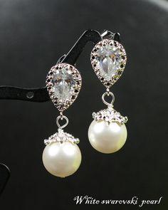 Bridesmaid jewelry Pearl Crystal bridal earrings,tear drop dangle,Wedding Bridal Jewelry Bridal Bridesmaid Earrings bridesmaid card on Etsy, $29.99