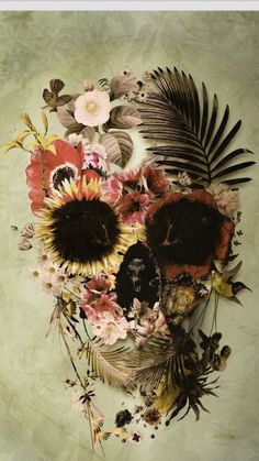 Floral skull head