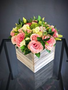 Large wood box arrangement with pink roses and eustomas and green hydrangeas Easter Flower Arrangements, Easter Flowers, Beautiful Flower Arrangements, Flower Centerpieces, Spring Flowers, Wedding Centerpieces, Floral Arrangements, Beautiful Flowers, Flowers For Girlfriend
