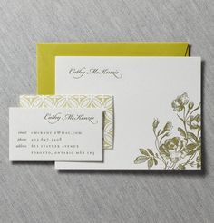 Jacquiline letterpress calling card & note card by Dauphine Press