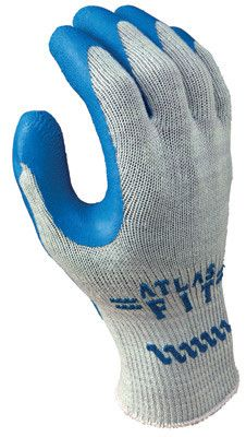 SHOWA Best Glove Size 10 Atlas Fit 300 10 Gauge Light Weight Abrasion Resistant Blue Natural Rubber Palm Coated Work Gloves With Light Gray Cotton And Polyester Liner And Elastic Knit Wrist