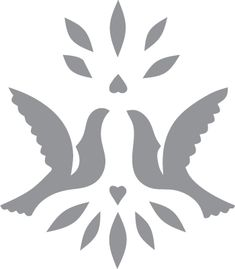 Glass etching stencil of A pair of wedding doves. In category: Birds, Centers, Weddings & Anniversaries