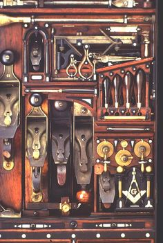 detail of old woodworkers tool chest
