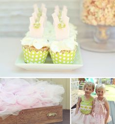 vintage tutus + bowties party...LOVE the ballerina cupcakes!