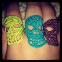 Crochet Skull rings by UnraveledCrafter on Etsy, $5.00 be sure to mention the mystic bucket