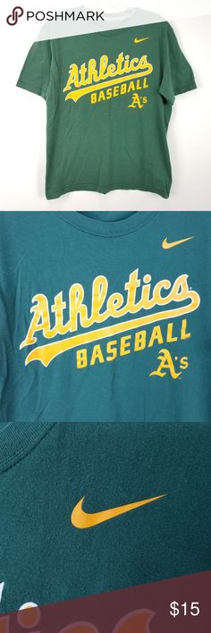 """Nike Mens Oakland Athletics As T Shirt Sz M Medium Nike Mens Oakland Athletics As T Shirt Sz M Medium Green Yellow Short Sleeve MLB  Good Condition! Some minor light fading on the shoulders, See Photos!  19.5"""" Pit to Pit 26"""" Item Length (Front Side Neckline to Bottom)  Bundle more of my items for a discount! From a smoke free home. I ship FAST!  C25:06:P:M3.98:L54:36-18 Nike Shirts Tees - Short Sleeve"""