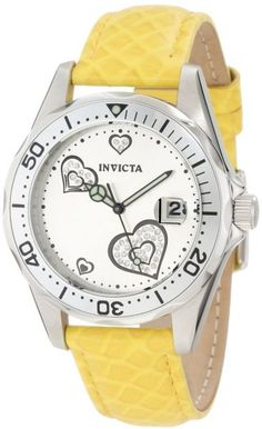 Invicta Women's 12511 Pro-Diver Silver Dial Crystal Accented Hearts Yellow Leather Watch in UAE | Souq