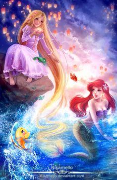 Rapunzel,Let down your hair for Ariel! by RikaMello