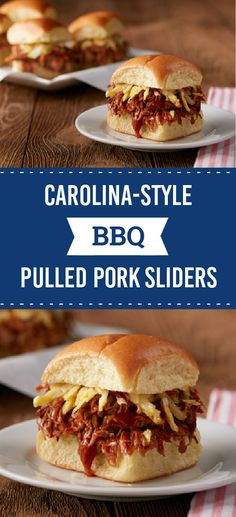 Carolina-Style BBQ Pulled Pork Sliders – Get out the slow cooker for this delicious and flavorful recipe. These pulled pork sliders are the perfect addition to your summer family potluck.