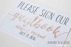 Guestbook sign - Wedding Guest Book - Watercolor Wedding - Custom Color - PDF - DIY - AA6 by TheLovebirdPress on Etsy https://www.etsy.com/listing/271077920/guestbook-sign-wedding-guest-book