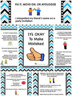 A Social Story About How To Handle Making Mistakes This is a social story for the child who is a perfectionist and who gets very upset whenever he/she makes even the smallest of mistakes. This story breaks down various types of mistakes and gives suggestions for how to handle each of them. Some mistakes need to be fixed, some require an apology and others just need to be let go. Read this story frequently and discuss the various mistakes and strategies to handle them.