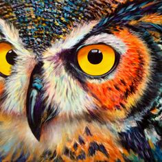 Owl painting on canvas Acylic Painting Ideas, Autumn Animals, Owl Eyes, Great Horned Owl, Beautiful Owl, Vintage Owl, Animal Sketches, Owl Art, Acrylic Art