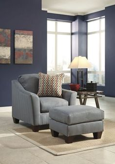Hannin - Lagoon Fabrics Chair And Ottoman ...