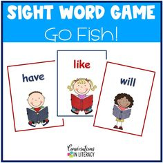 Sight Word Games like Go Fish make reviewing sight words so much fun! #sightwords #kindergarten #firstgrade #elementary #literacycenters #conversationsinliteracy kindergarten, 1st grade, 2nd grade