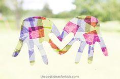 Make these beautiful handprint suncatchers kids craft.