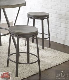 Set Of 2 Swivel Industrial Counter Height Bar Stool Wood Metal Pub Chair  Vintage