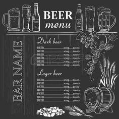 Men� de la cerveza dibujado a mano en la pizarra, excelente ilustraci�n… …