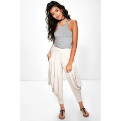 Boohoo Valencia Oversized Slouchy Hareem Trousers ($16) ❤ liked on Polyvore featuring pants, stone, wide leg palazzo pants, slouchy pants, sports pants, white wide leg pants and white palazzo pants